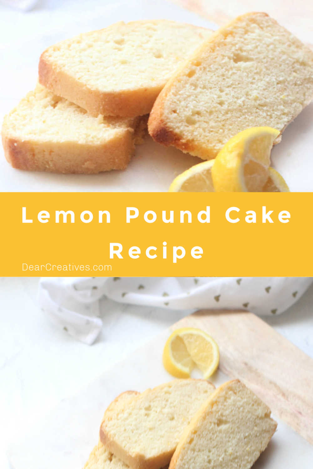 Lemon Pound Cake Recipe is easy to make, bake. The hardest part is waiting for the lemon loaf to cool before cutting it. Of course, if you don't have fresh lemons you can purchase bottled lemon juice. Perfect for anytime you are craving a tasty lemon pound cake!