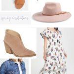 Spring Outfit Ideas - Spring dress, wool hat, sandals, booties, denim jacket - DearCreatives.com