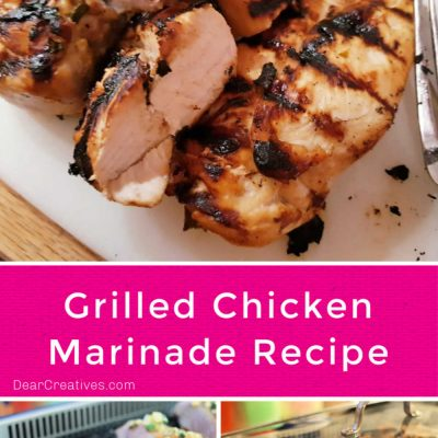 This grilled chicken marinade recipe can be used for grilling chicken, or cooking the chicken other ways after using the chicken marinade. Easy recipe with low ingredients at DearCreatives.com