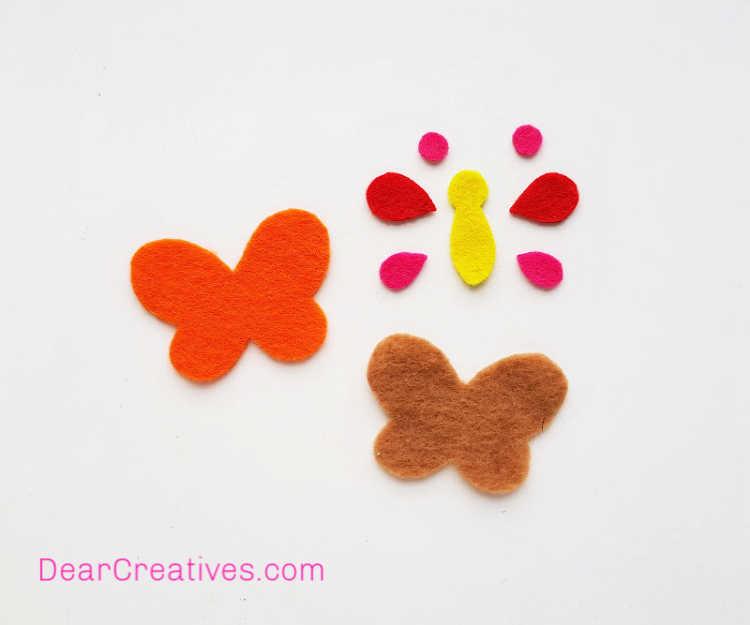 Butterfly Craft - Pencil Topper - Felt Craft - Instructions step (1) - Print and cut butterfly template pattern. DearCreatives.com