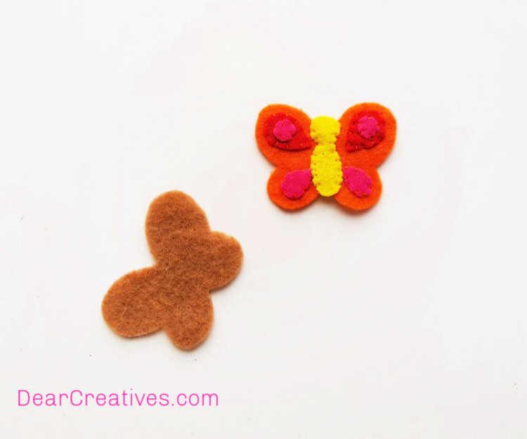 Butterfly Craft - Pencil Topper - Felt Craft - Instructions step (3) Felt Butterfly Craft at DearCreatives.com
