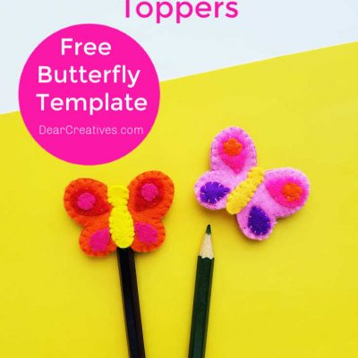 Butterfly Craft - Pencil Toppers made with a free template, felt and hand stitching. Grab Free butterfly template and instructions and DIY at DearCreatives.com