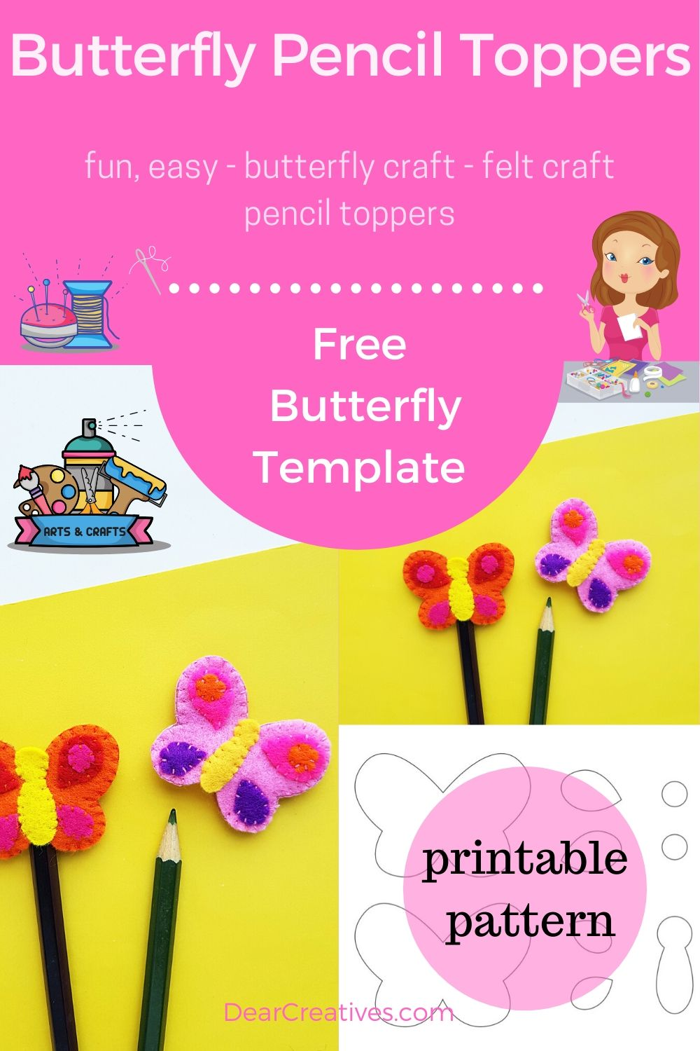Butterfly Pencil Toppers - This is a fun, easy hand sewing felt craft with free butterfly template. Kids, teens, adults can make this butterfly craft with the instructions and template. DearCreatives.com