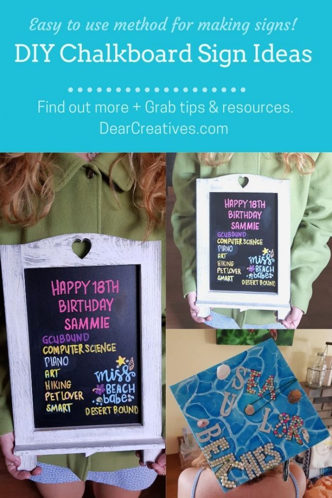 Easy to use method for making chalkboard signs for any occasion. Chalkboard Art, Ideas and how-to. DearCreatives.com