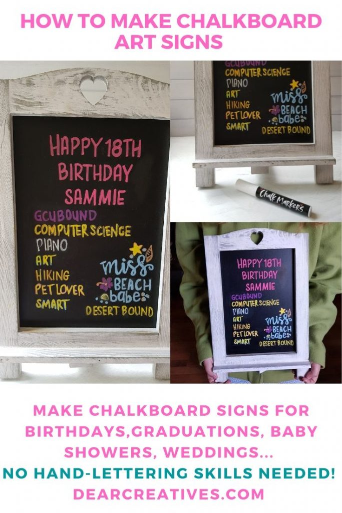 How to make chalkboard art signs for any occasion. No hand-lettering skills needed for this easy technique. DIY - chalkboard art ideas - DearCreatives.com