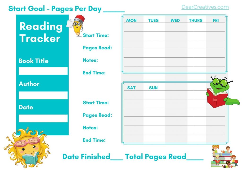 Reading Tracker- Page 1 of 2 Pages With Time read, pages read and date book finished. Grab this printable chart at DearCreatives.com