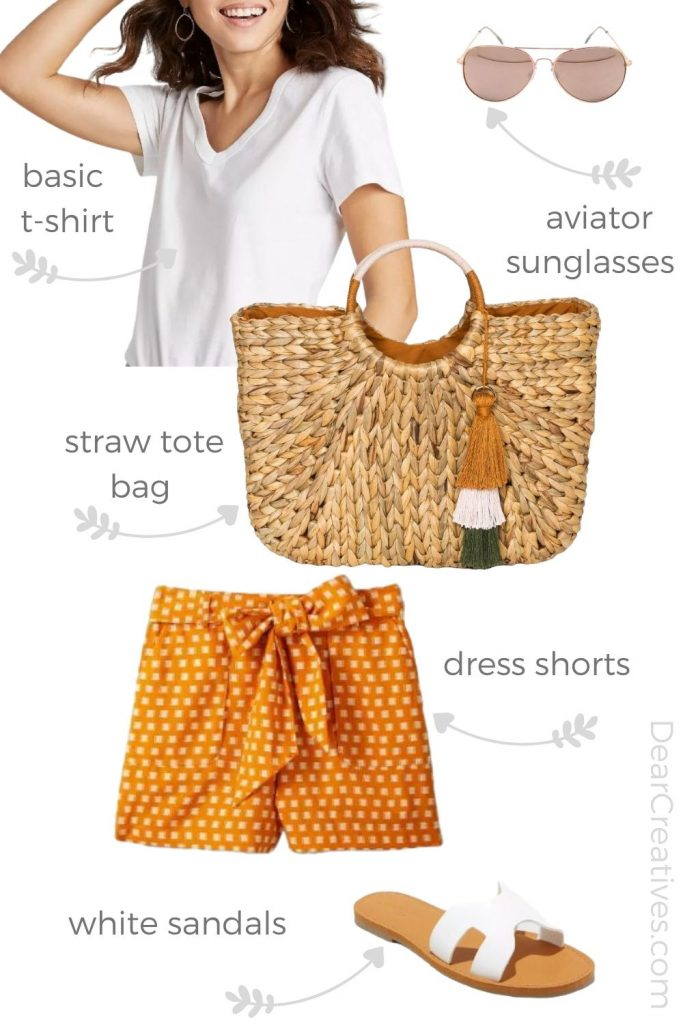 Summer outfit - Must-haves for women to wear this summer. Sun glasses, shorts, t-shirt sandals and tote bag- DearCreatives.com