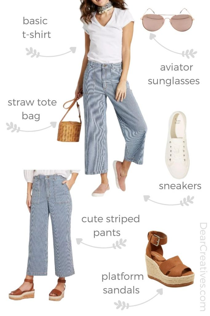 Summer outfit - Must-haves for women to wear this summer. Sun glasses, striped pants, t-shirt, sneakers, platform sandals, and straw cross-body bag- DearCreatives.com