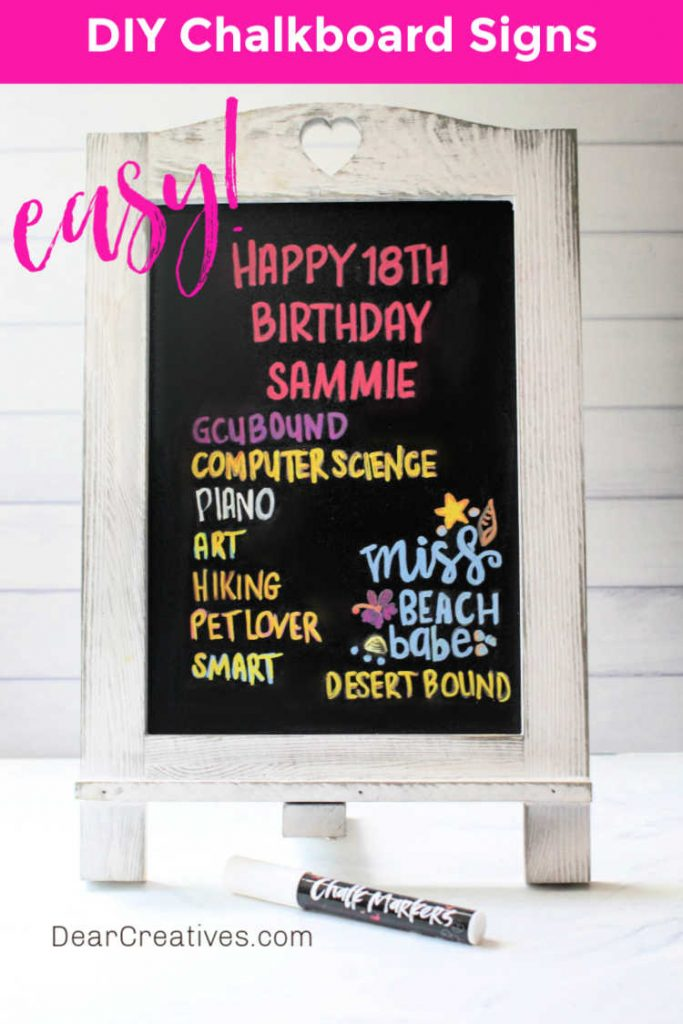 chalkboard art easy- © DearCreatives.com - finished chalkboard art sign for birthday - graduation with mementos written on the sign. See how to at DearCreatives.com