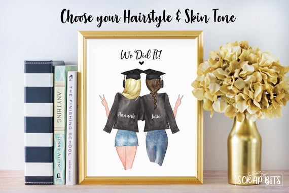 2 Best Friends Graduation Print