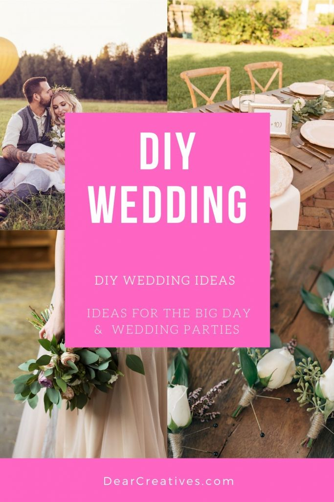DIY Wedding Ideas - See these 15+ ideas and more DIY wedding projects! Plus get access to the best wedding and event planning Pinterest boards we have pinned for inspiration! DearCreatives.com