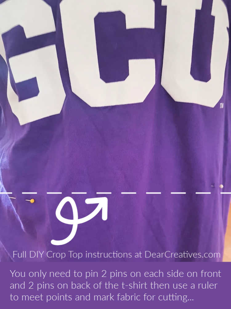 How To make a Crop Top from a t-shirt - Pin shirt while on allowing for hemming. DIY at DearCreatives.com