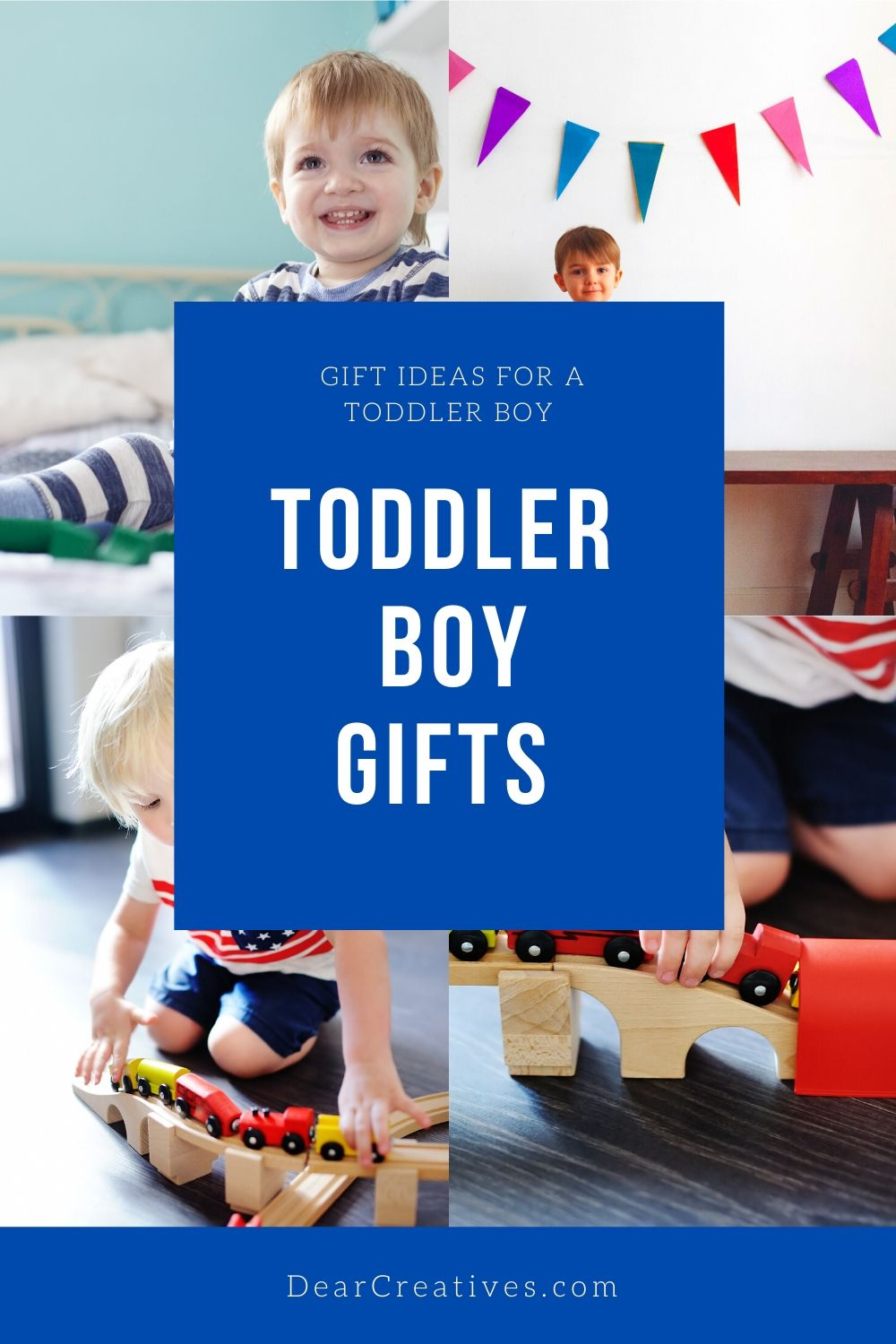 Toddler Boy Gifts - These gift ideas for boys will provide you with a selection of gifts to encourage creativity, playtime... DearCreatives.com
